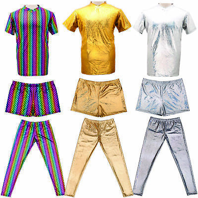 £10.89 • Buy Mens Metallic Shiny Top Shorts Trousers Gay Pride Outfit Costume Silver Gold