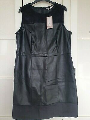 £10 • Buy TU Size 16 Faux Leather And Suedette Round Neck Sleeveless Shift Dress