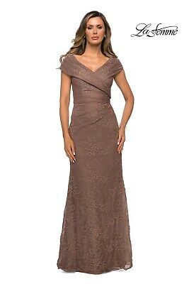£87.28 • Buy New La Femme Gown 27982 Lace Off The Shoulder Cap Sleeve Dress Cocoa Tan Size 16