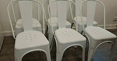 AU160 • Buy 6 White Replica Tolix Dining Chairs