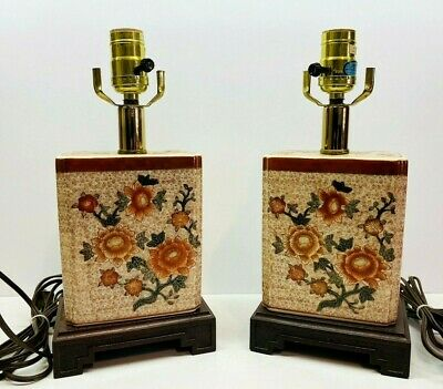 £69.11 • Buy Vintage Pair Chinese Style Ceramic Table Lamps With Wood Base 12.5  Tall