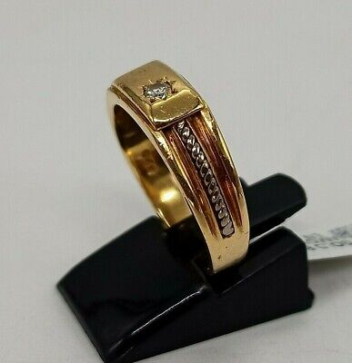 AU525 • Buy 18k Yellow And White Gold Vintage Mens Signet Ring W/ Solitaire Diamond, Size T