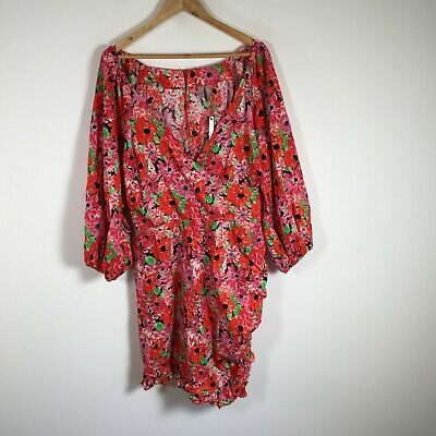AU24.95 • Buy ASOS BNWT Womens Dress Size 22 Pink Floral Long Sleeve Cotton