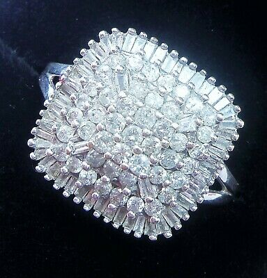 £475 • Buy 9ct White Gold 1.00ct Diamond Large Square Cluster Ring, Size P