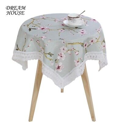 £5.23 • Buy Cotton Linen Square Tablecloth Printed Lace Table Covers Home Coffee Shop Decor