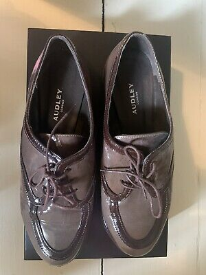 £22 • Buy Audley Womens Patent Leather Lace Up Shoes Grey With Brown Detailing Size 38