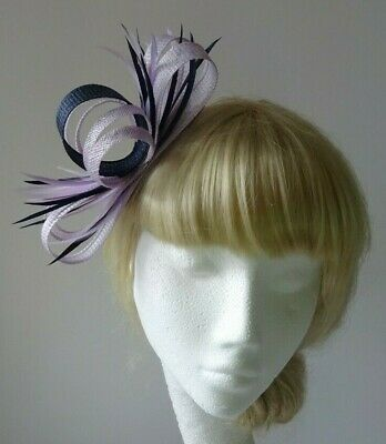 £19.99 • Buy Lilac/navy Blue Feather Fascinator On Clip Wedding Mother Of The Bride Races