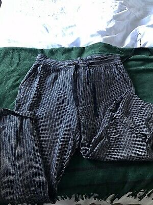 £10 • Buy Next Striped Black And Grey Linen Trousers - Size 14 L