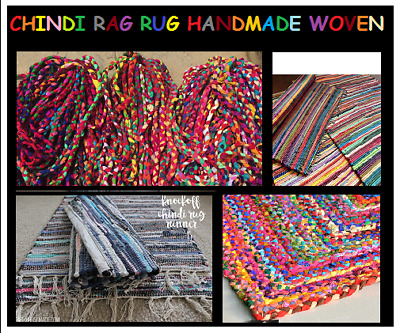 £7.99 • Buy Multi Color Cotton Chindi Rag Rug Handmade Striped Woven Fair Trade Recycled Mat