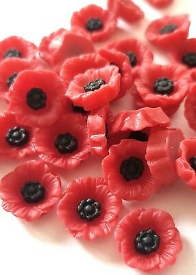 £6.25 • Buy 12 Poppy Cabochons-12mm-resin Flatback Cabochon-decoden-red Poppies-flowers
