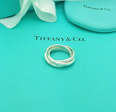 £287.99 • Buy Tiffany & Co. RARE Sterling Silver Triple Ring Size P UK, 7.15 US Or 56 EU