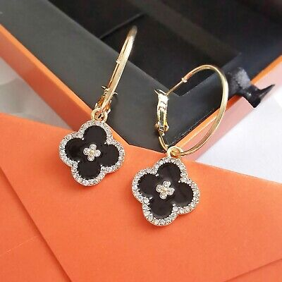 AU9.99 • Buy New Fashion Black Gold Color Four Leaf Clover Huggies Drop Earrings S925 Silver