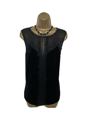 £3 • Buy STUNNING VELOUR LACE TRIM TOP BLOUSE By NEXT UK 14 VGC BLACK LOOSE FIT RELAXED