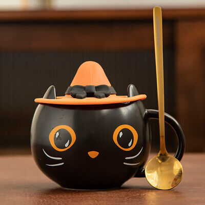 £17.98 • Buy 2021 Starbucks Black Cat Cup With Witch Cap Lid&Spoon Water Mug Halloween Gifts