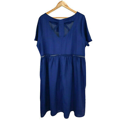 AU22.95 • Buy Asos Navy Blue Loose Fit Flare Dress Plus Size UK 22 Party Evening Casual