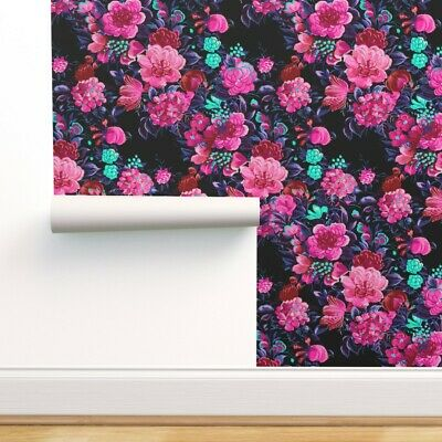 £55.80 • Buy Removable Water-Activated Wallpaper Floral Midcentury 50S Modern Flowers Magenta