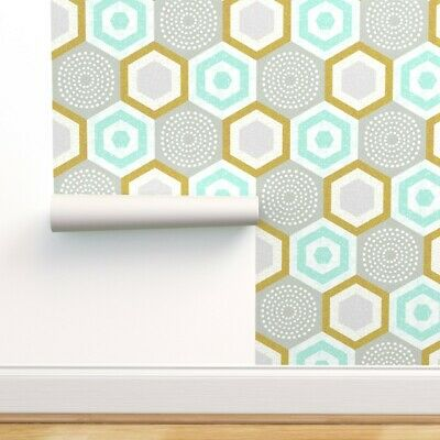 £29.71 • Buy Removable Water-Activated Wallpaper Midcentury 50S Vintage Hexagon Mcm Geometric