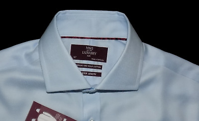 £12.99 • Buy M&S Collection BNWT Luxury Slim Fit Blue Double Cuff Shorter Shirt Cost 45 15/38