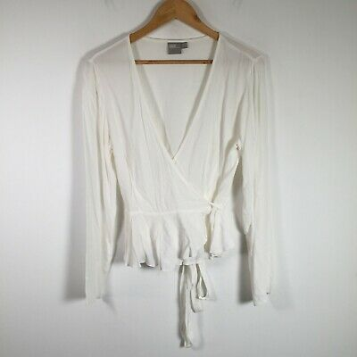 AU19.95 • Buy Asos Womens Wrap Blouse Top Size 12 White Long Sleeve Tie Up Viscose