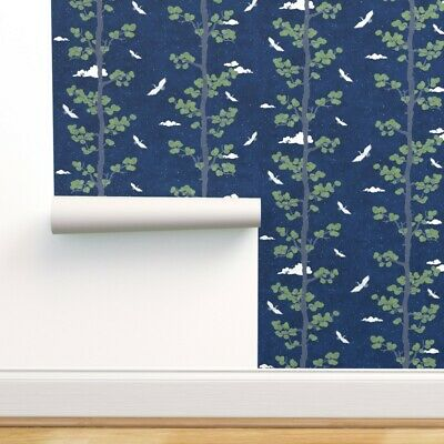 £148.16 • Buy Wallpaper Roll Night Sky Cranes Large Japanese Indigo Forest Crane 24in X 27ft
