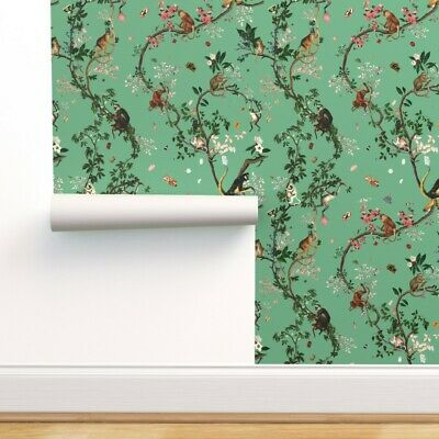 £5.81 • Buy Wallpaper Roll Monkey Chinoiserie Jungle Floral Tree Green Japanese 24in X 27ft