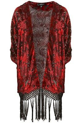 £20 • Buy Topshop Red And Black Fringed Kimono Size 10