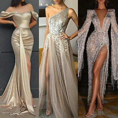 AU39.89 • Buy Womens Formal Sequin Maxi Dress Balls Prom Wedding Evening Party Cocktail Proms