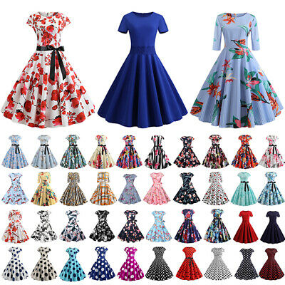 AU21.29 • Buy Womens Floral Vintage Rockabilly Evening Party Cocktail Prom Gown Swing Dress