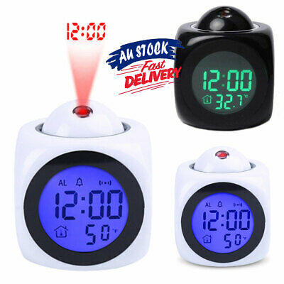 £8.18 • Buy Time Digital LCD Display Temperature Clock Projector LED Projection Alarm Smart