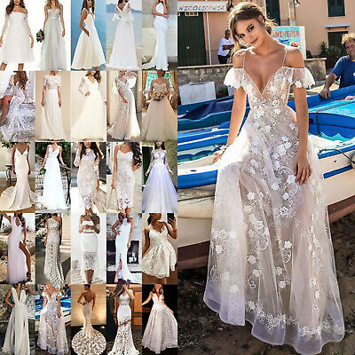 AU43.59 • Buy White Wedding Bridesmaid Maxi Dress Womens Party Formal Fance Dresses Ball Gowns