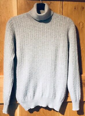 £22 • Buy Cashmere Roll Neck Cable Knit Sweater By Autograph M&S In Light Grey Size 10