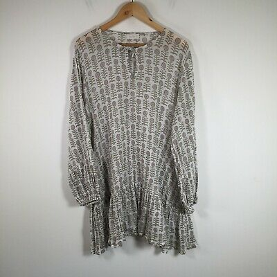 AU49.95 • Buy Tigerlily Womens Dress Size 10 Smocked White Floral Sheer Long Sleeve Cotton