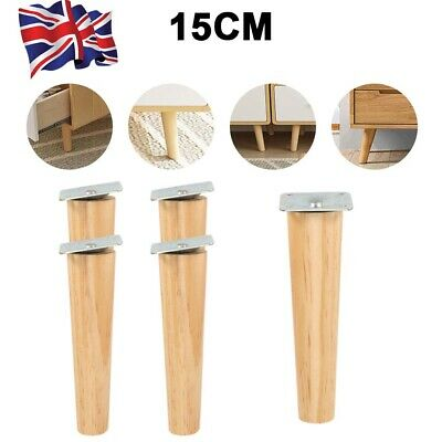 £13.49 • Buy 4x Wooden Furniture Legs Square Tapered 15cm Feet For Stools Sofa Chair M10