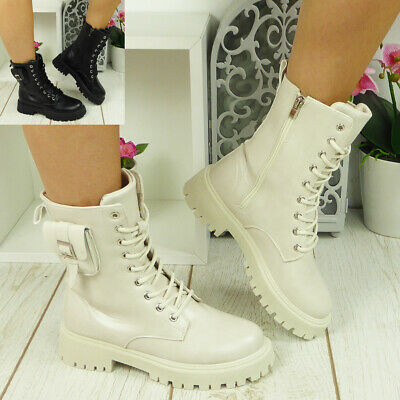 £21.84 • Buy Punk Goth Lace Up Zip Boots Lined Shoes Ladies Pocket Chunky Heel Womens Size