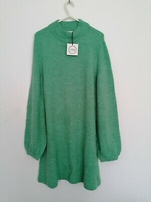 £9.88 • Buy Ladies Knitted Jumper Dress Fashion Casual Jade Green Size 6 8 10 12 14 16 18 20