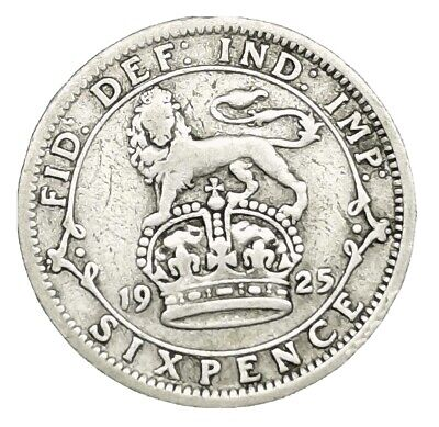 £0.99 • Buy George V 1925 Sixpence Silver.500 F/GVF Coin