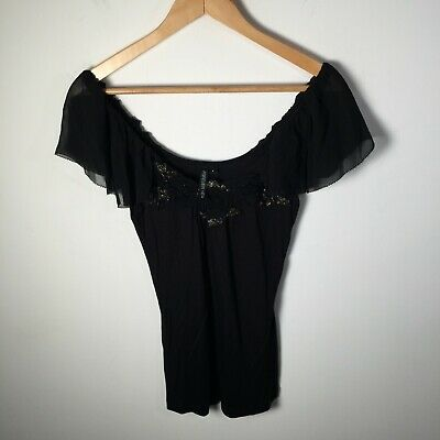 AU19.95 • Buy Forever New Womens Blouse Top Size 6 Black Short Sleeve Round Neck Gold Trim