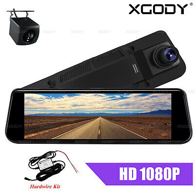 AU86.99 • Buy XGODY 8  Dash Cam Rearview Mirror Camera Front And Rear Video Recorder +Hardwire