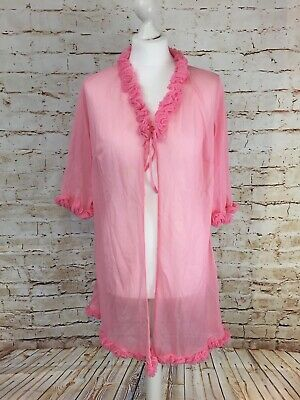 £14.95 • Buy VINTAGE PINK NYLON SHEER  HOUSECOAT NEGLIGEE PEIGNIOR  SEXY RUFFLE LGE Issue