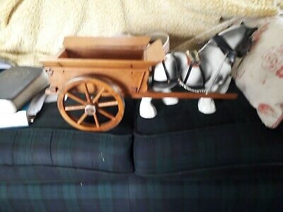 """£7.10 • Buy Vintage Shire Horse And Cart Ornament.Approx 12"""" Long."""