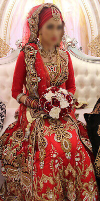 £250 • Buy Asian Indian Pakistani Bridal Lengha Wedding Dress Outfit Red Size 8 RRP £1,400