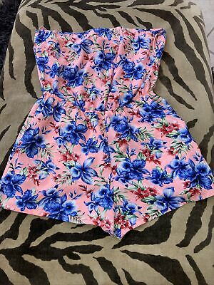 £0.99 • Buy Primark Size Small Pink Blue Floral Silky Playsuit Bandeau