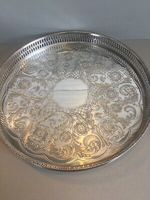 £10 • Buy Vintage Viners Of Sheffield Chased Silver Plate Round Galleried Tray, 26 Cm Dia