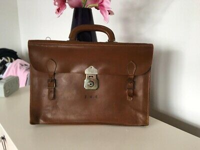 £15 • Buy Vintage Large Brown 100% Real Leather Satchel/Briefcase/Bag With Cheney Lock