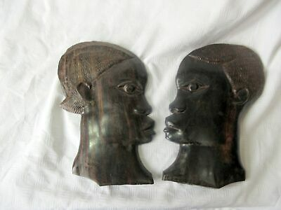 £0.99 • Buy 2 Vintage African Ebony Carved Tribal Heads Wall Plaques