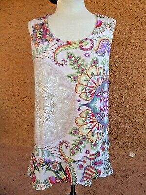 £6.49 • Buy Ladies Desigual Sleeveless Stretch Quirky Designer Top Size XL (see Pics)