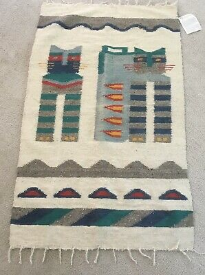 £54.56 • Buy Vintage Handwoven Wall Rug Mexican Guatemalan Travellers Aztec Southwestern CATS