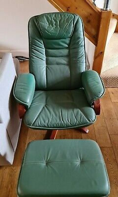 £100 • Buy Mobel Green Leather Reclining Chair With Foot Stall