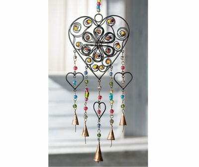 £18.99 • Buy Fair Trade Recycled Iron Heart Wind Chime With Mixed Beads