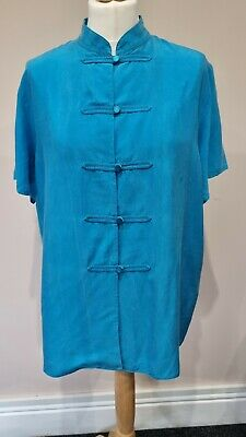 £3.90 • Buy Vintage St Michael M&s Chinese Style Shirt Silky Feel Turquoise Size 16 18
